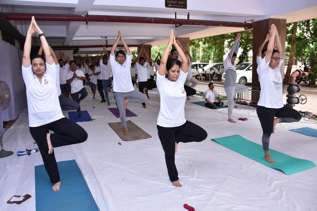 International Yoga day at Aaykar Bhawan Surat.